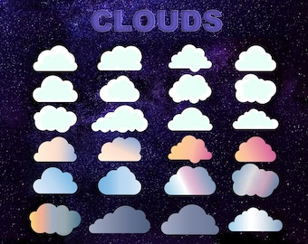 Cloud ClipArt, Royalty-Free Clouds Clip Art, 24 Fluffy Cloud Set, Digital Download, High-Res Transparent Background Printable PNG Images
