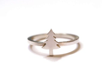 Evergreen Tree Ring, Handmade Silver Tree Ring, Super Dinky Tree Stacking Ring, RockCakes, uk