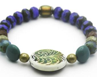 Czech Glass Stretch Bracelet, Mood Bead, Stretch Bracelet, Blue - 1BRB0022