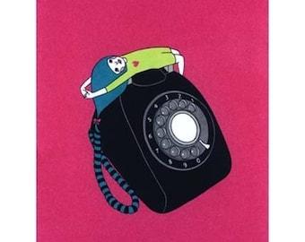 Greeting card  -Telephone Girl -