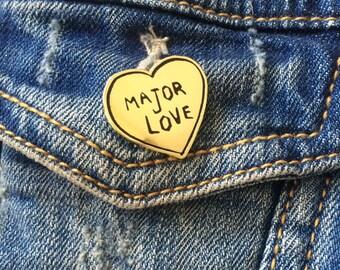 Major Love Heart Pin, Toronto Enamel Pin, Trinity Bellwoods Art Brooch, Canada Pin, Lapel Pin, Brooch