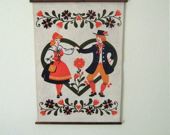 Vintage Froso Handtryck AB Wall Hanging*Swedish 1970's Wall Hanging with Flower Garlands*Dancers in Original Costume*13x16*Scandinavian