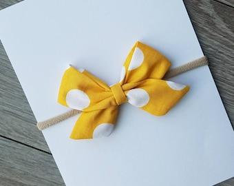 mustard fabric bow, baby headband, nylon headband, clip, mustard polka dot bow, toddler bow with clip
