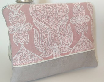 Pouch fabric-pouch-woman bag has padded handmade pouch suede and cotton-grey and pink-gift