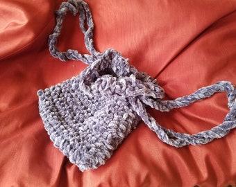 CROCHET - drawstring purse bag Blue