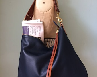 Leather bag, navy leather handbag, leather messenger bag, midnight blue leather purse