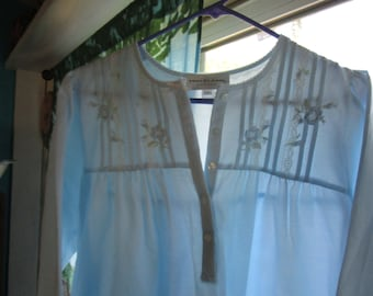 Miss Elaine Petites Light Blue Long Nightgown with Lace & Embroidery Size PM