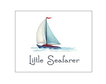 Nursery art print, printable art wall decor, baby boy room, blue, sailboat, custom digital, DIY