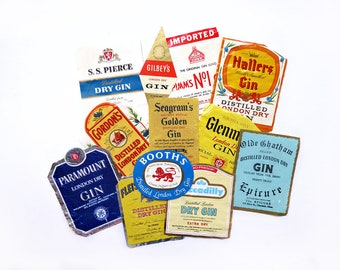 12 Authentic Gin Labels, Authentic