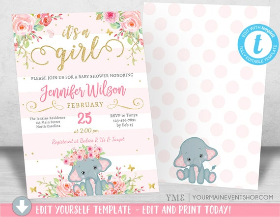 Girl Elephant Baby Shower Invitation, Girl Pink Elephant Baby Shower, Jungle Baby Shower Invite, It's a Girl, Diaper Raffle Book Request