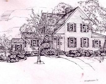 Custom HOUSE PORTRAIT-Original Pen Drawing of your Home-Watercolor House Portraits