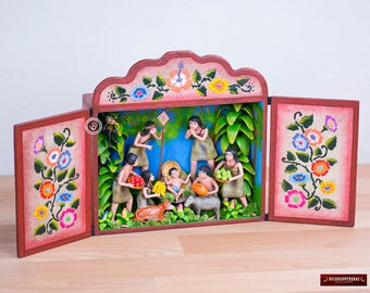 "Retablo Diorama ""Shipibo Christmas"" from Peru - Collectible Wood & Ceramic Diorama- Folk art Diorama - Andean Retablo Hand-painted Sculpture"