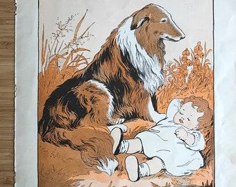Vintage nursery wall art baby girl and pet dog illustration bookplate art print pastel orange artwork whimsical wall art kids room