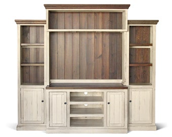 Entertainment Center, TV Stand, Reclaimed Wood, Media Console, Wall Unit, Rustic, Handmade