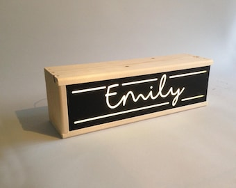 Personalized lightbox with name for nursery or childs room - Light box nursery - Led lights and battery operated - custom lamp -