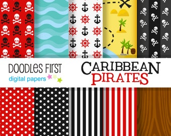 Caribbean Pirates Adventure  Digital Paper Pack Includes 10 for Scrapbooking Paper Crafts