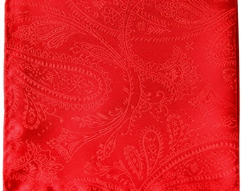 New Men's Polyester Paisley Red Handkerchief, for Formal Occasions