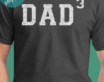 Dad 3 Men's T shirt Dad Cubed Shirt Father of 3 Kids Father's Day Shirt Pregnancy Announcement Shirt For New Dad Gift For Dad From Kids