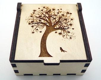 Tree of Life Jewelry Box, Wood Trinket Box, Small Jewelry Case, Laser Cut Box, Jewelry Storage Box, Tree of Life Wood Box, Jewelry Organizer