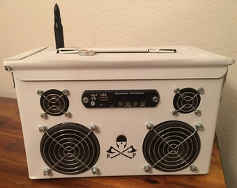 Ammo Can Rechargeable Stereo Boombox V.2.5 - White