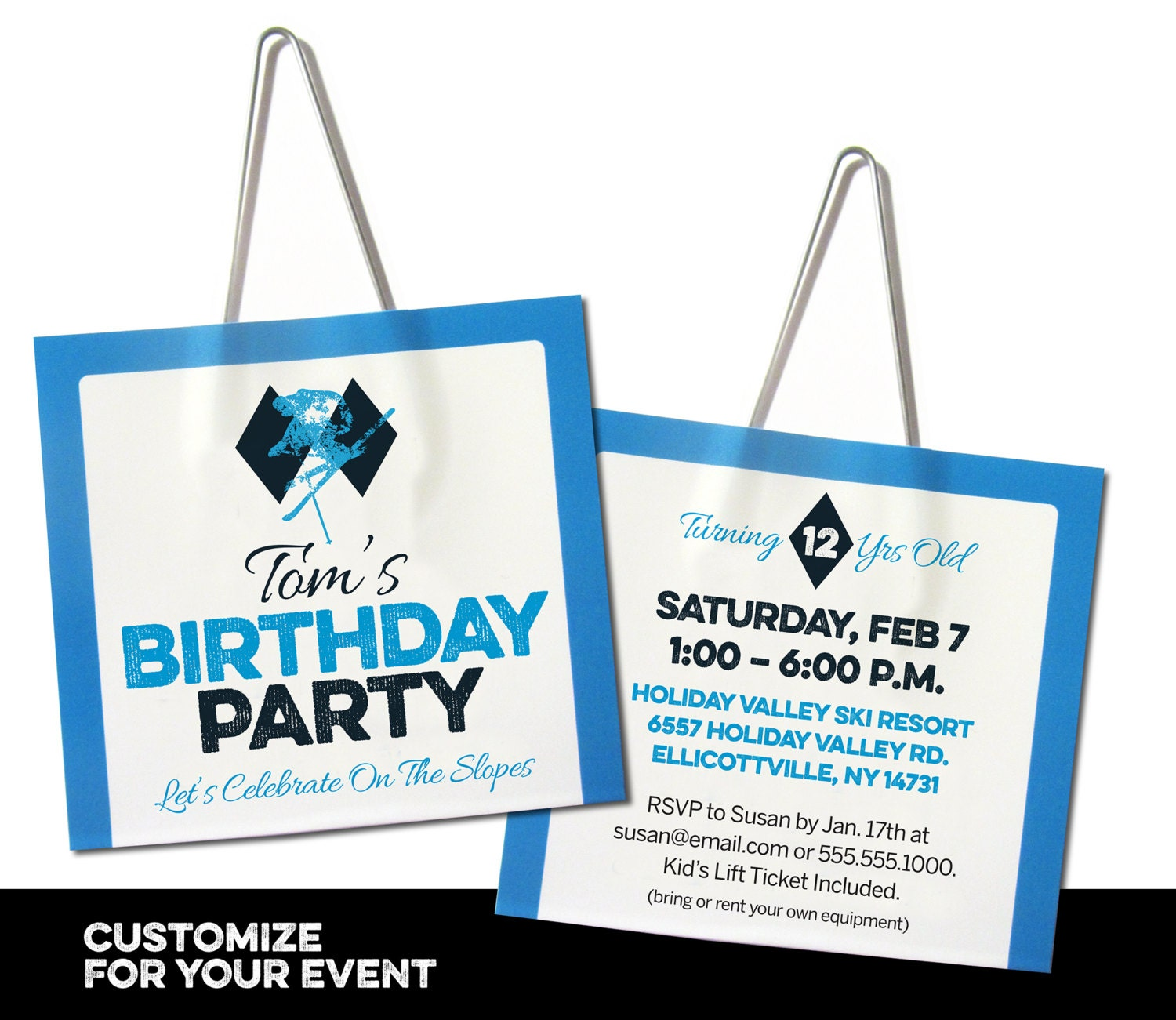 Ski Lift Ticket Birthday Party Invitation Free Customization