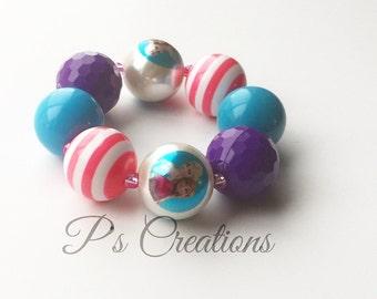 Chunky Bubblegum Bracelet with pink, purple and aqua chunky beads