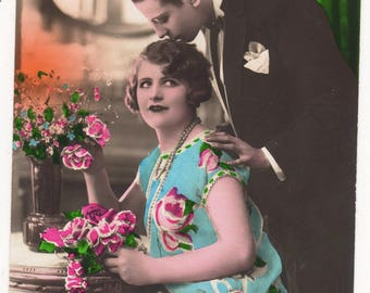 GLAMOUR, Vintage French Deco Real Photo Postcard,Lovely Romantic Couple, Bonne Annee, Lovely Fashion, c1920s