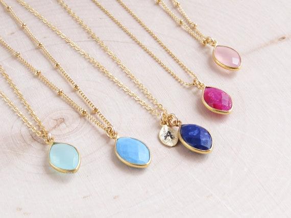 Gold Birthstone Necklace