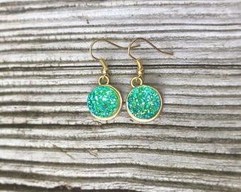 Mermaid Green Druzy Dangle Earrings. Green Druzy Earrings.