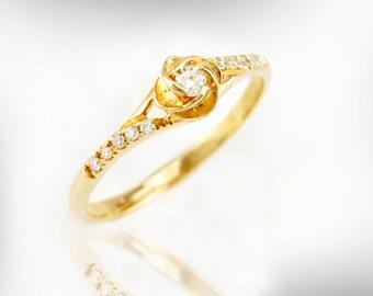 Rose Flower Engagement Ring, 14k/18k Gold and Diamond Engagement Ring, Unique Engagement Ring, Vintage Engagement Ring, Flower Ring Diamond