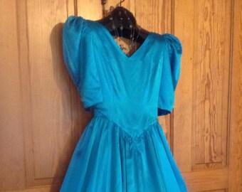Tourquoise 80s Satin Dress, size S