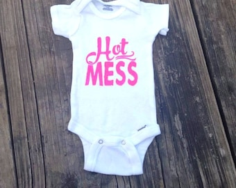 0-3M - Hot Mess Pink Fabric Painted Baby Onesie