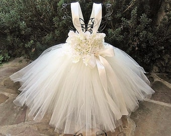 IVORY FLOWERS - Tutu Dress - Baptism Gown - Christening - Flower Girl Gown - Pageant Baby Outfit - First Birthday Tutu -  Ivory Tutu Dress