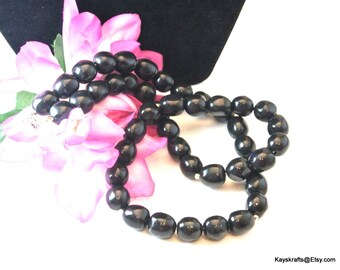 Black Bead Necklace, Black Odd Shaped Bead Necklace, Vintage Bead Necklace, 24 Inch Necklace, Christmas Gift