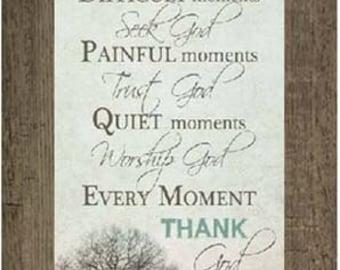 Happy Moments Praise God Inspirational Religious Vertical Grey Aqua Blue Print Picture Framed Art