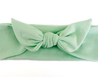 Baby Headband, Baby Head Band, Mint Green Headband