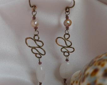 Oval rose quartz stone and champagne toned pearl dangling earrings* pearls paired with rose quartz and bronze earrings