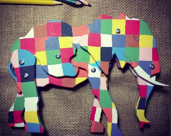 Elmer elephant. Eco wooden elephant. Animal toy. Organic toys.
