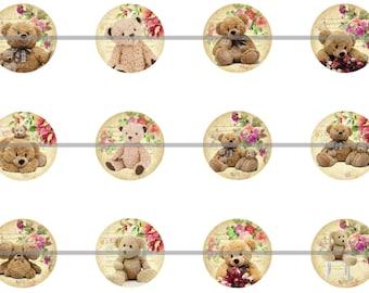 """1"""" Inch Teddy Bear Flatback, Pins or Magnets 12 Ct. Set B"""
