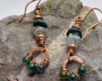 Wire Wrapped Copper Earrings with Jasper