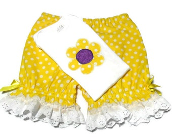 Toddler Girl Outfit, Girls Daisy outfit, Girl Summer Clothes, Daisy Bodysuit, Girls Bloomer Set, Girl size 18 Months, Girls Bodysuit