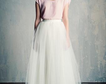 Ivory Tulle Wedding Skirt Maxi/Floor Length  A Line Modern Bride xs-xxl
