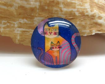 2 cabochons 20 mm glass cat Pop purple and blue - 20 mm