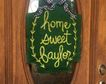 Home Sweet Baylor door hanger