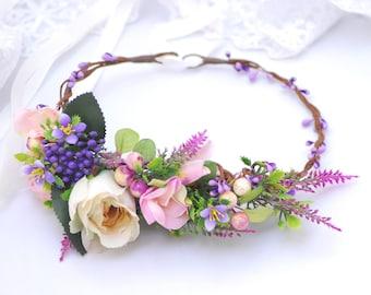 Lavender floral crown Bridal floral crown Wedding hair wreath Flower headband Wedding headpiece Flower halo Winter wedding flower