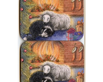 2 x Border Collie and sheep in front of fire coasters