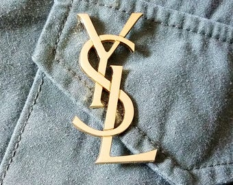 2.50 INCH YSL Yves Saint Laurent Logo Pin Brooch