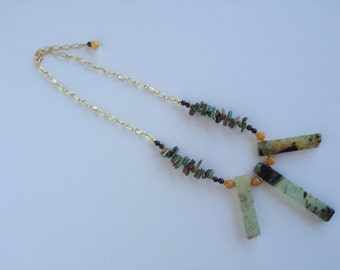 Vintage Prehnite Spikes and Turquoise Necklace