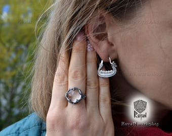 ring «Gotland» with a Rock Crystal or Smoky Quartz or Carnelian.  Viking jewellery