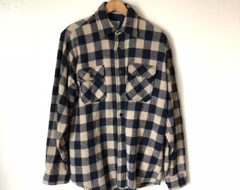 Men's Vintage Wool Flannel // Outdoor Exchange // Navy Blue and Beige Plaid // Size M Tall